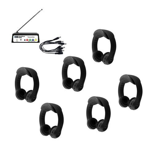 Black Flex-PhonesAF Wireless Listening Center - 6 Station with Indestructible Headphones and Multi-Channel Transmitter