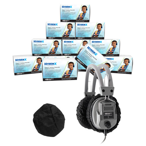 "HygenX Sanitary Ear Cushion Covers (4.5"" Black, Master Carton - 600 Pairs) - for Over-Ear Headphones and Headsets"
