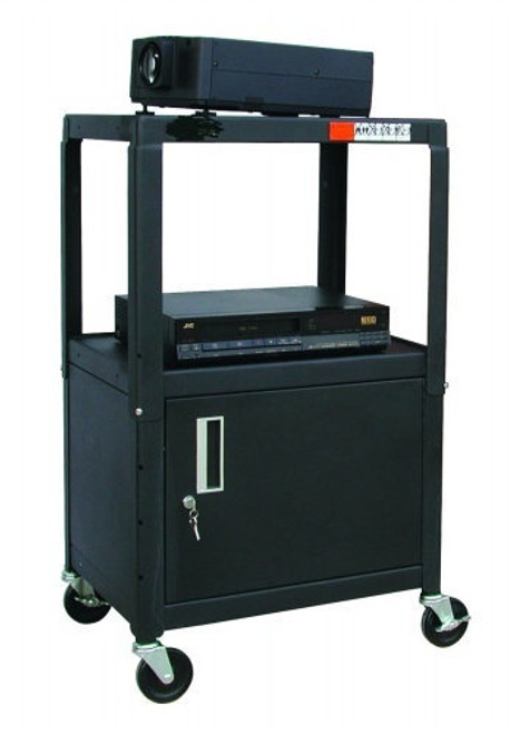 "Steel Cart, Adjustable 26"" to 42"" with Locking Security Cabinet and Electric"