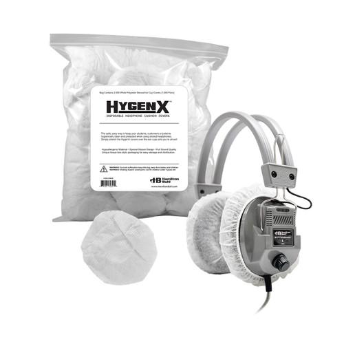 "HygenX Sanitary Ear Cushion Covers (4.5"" White, Bulk Bag - 1,000 Pairs) - for Over-Ear Headphones & Headsets"