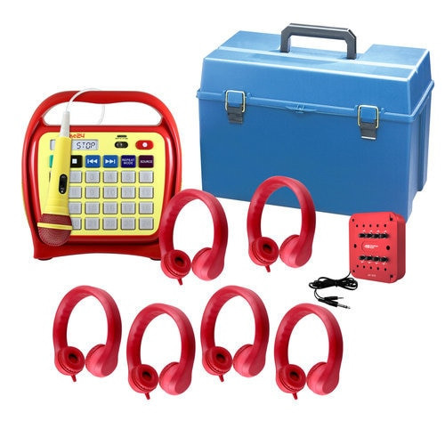 Juke24 Flex (Red) - Six Station Listening Center with Indestructible Foam Flex-Phones Headphones