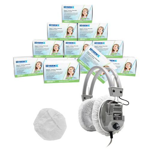 """HygenX Sanitary Ear Cushion Covers (4.5"""" White, Master Carton - 600 Pairs - For Over-Ear Headphones & Headsets"""