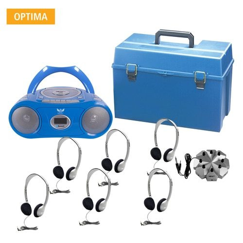 6 Person Listening Center with Bluetooth® CD/Cassette/FM Boombox and Personal On-Ear Headphones