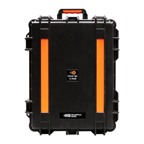 black and orange 15 bay Portable Charging Station