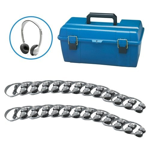 HamiltonBuhl Lab Pack, 24 MS2L Personal Headphones in a Carry Case