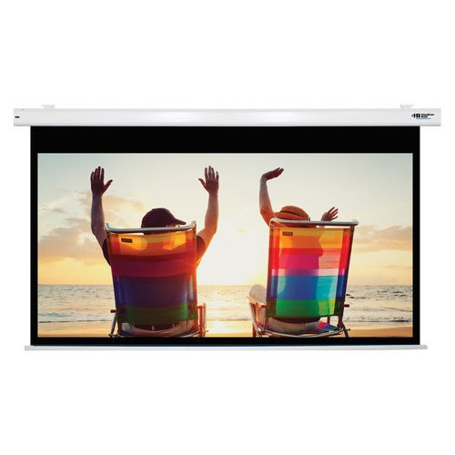 """HamiltonBuhl 100"""" Diag. (49x87) Electric Projector Screen, HDTV Format, Matte White Fabric"""