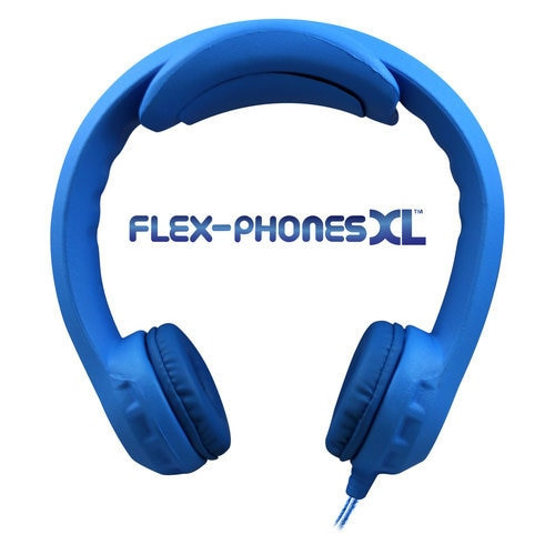 Flex-PhonesXL (Blue) - Indestructible, Single-Construction Headphones For Teens