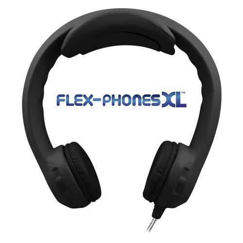 Flex-PhonesXL (Black) - Indestructible, Single-Construction Headphones For Teens