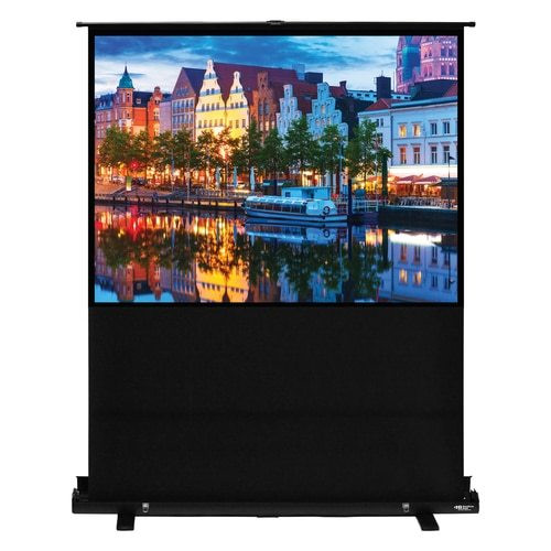 "HamiltonBuhl 100"" Diag. (60x80) Portable Floor Rising Screen, Video Format, Matte White Fabric"
