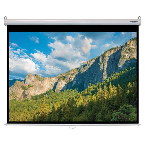 "HamiltonBuhl 100"" Diag. (60x80) Manual Pull Down Projector Screen, Video Format, Matte White Fabric"