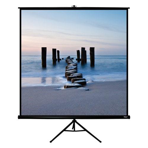 """HamiltonBuhl 113"""" Diag. (80x80) Tripod Projector Screen, Square Format, Matte White Fabric, Black Case"""