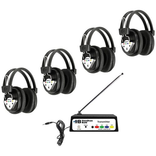 HamiltonBuhl Wireless Listening Center, 4 Station with Headphones and Bluetooth® Transmitter, Multi Frequency