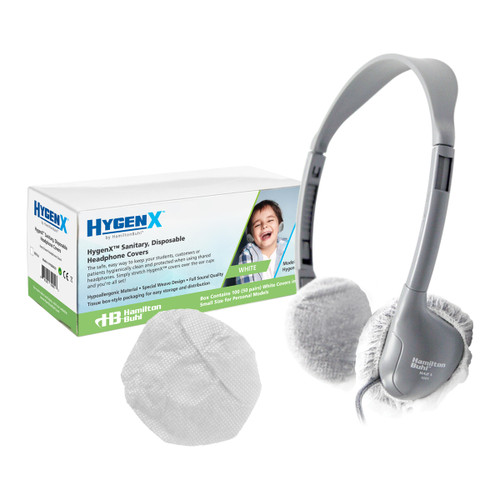 """HygenX Sanitary Ear Cushion Covers (2.5"""" White, 50 Pairs) - For On-Ear Headphones & Headsets"""