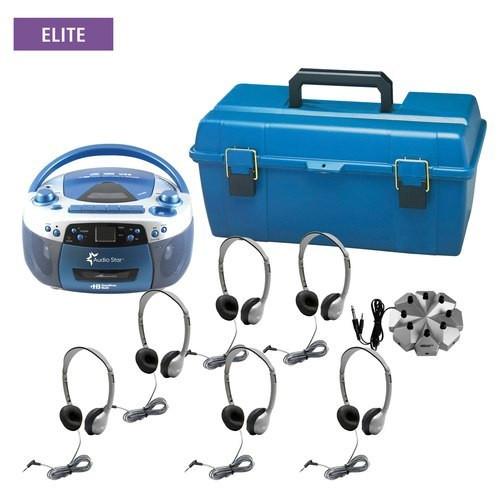 HamiltonBuhl AudioStar ELITE - 6 Station Listening Center with Personal Leatherette Headphones