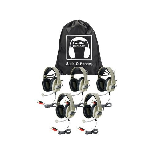 HamiltonBuhl Sack-O-Phones, 5 HA-66M Deluxe Multimedia Headsets in a Carry Bag
