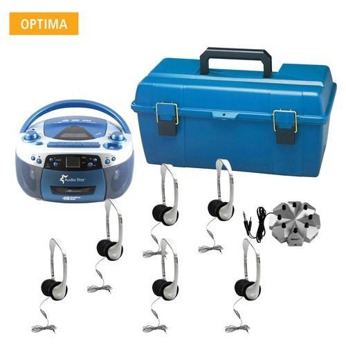 HamiltonBuhl AudioStar OPTIMA - 6 Station Listening Center with USB, CD, Cassette and Radio Boombox