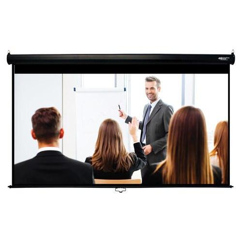 "HamiltonBuhl 100"" Diag. (49x87) Manual Projector Screen, HDTV Format, Matte White Fabric - Black"