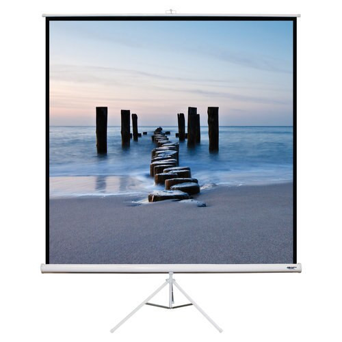 "HamiltonBuhl 113"" Diag. (80x80) Tripod Projector Screen, Square Format, Matte White Fabric"