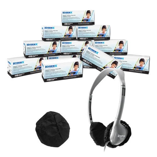"""HygenX™ Sanitary, Disposable Ear Cushion Covers for 2.5"""" Personal-Sized Headphones and Headsets, Master Carton of 12 boxes – BLACK"""