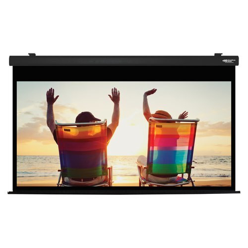 "HamiltonBuhl 100"" Diag. (49x87) Electric Projector Screen, HDTV Format, Matte White Fabric - Black"