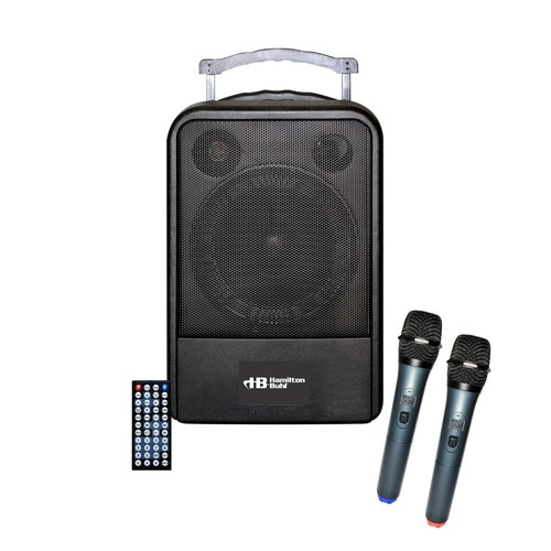 VENU100A PA system with included 2 wireless microphones and remote control