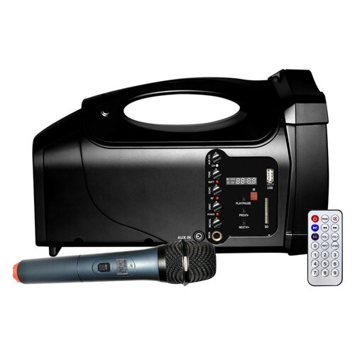 VENU-80A compact PA system showing the included wireless microphone and remote control.