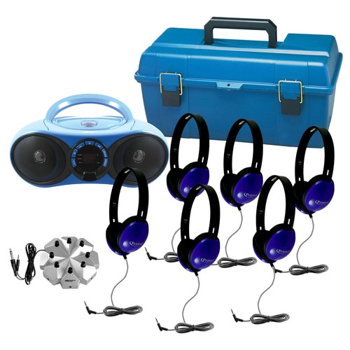 Image of AudioMVP™ Bluetooth®/CD/FM Listening Center, including 6 Primo™ blue stereo headphones, 8-position jackbox, and small lockable carry case (lock not included).
