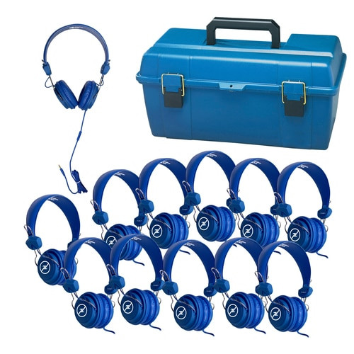 Image of LCP-12FVBL Lab Pack with 12 FV-BLU Favoritz™ blue headsets, and small lockable carry case (lock not included).