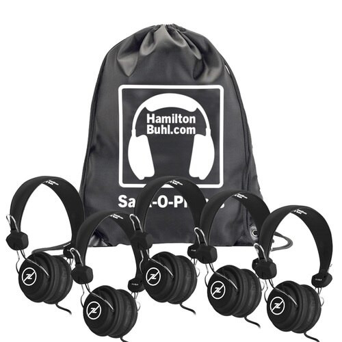 Image of Sack-O-Phones with Favoritz™ black headsets.