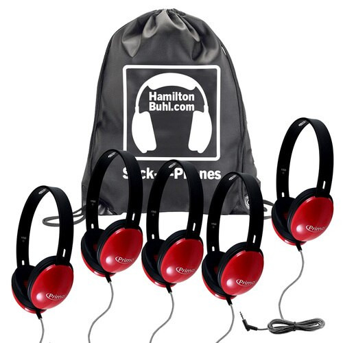 Sack-O-Phones with Primo™ red headphones.