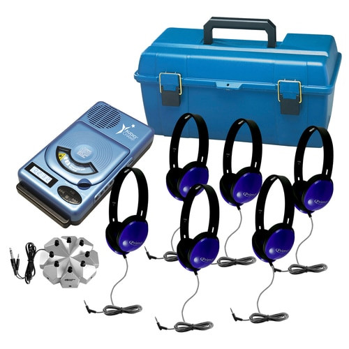AudioChamp CD/MP3 Player with USB Listening Center, including 6 Primo blue stereo headphones, 8-position jackbox, and small lockable carry case (lock not included).