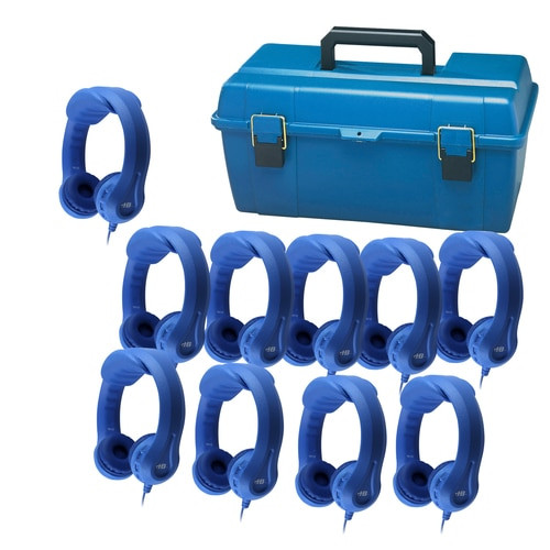 Image of LCP-10KBL Lab Pack with 10 KIDS-BLU Indestructible Flex-Phones™ blue headphones, and small lockable carry case (lock not included).
