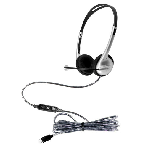 HamiltonBuhl MACH-1 Multimedia USB Type-C Headset with Steel Reinforced Gooseneck Mic and In-Line Volume