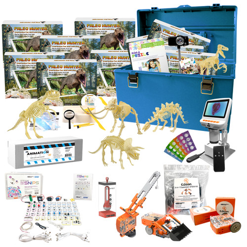 Beginner Skill Level Deluxe STEAM Pack – Coding and Engineering Robots, Animation Studio Kits, Paleo Hunter AR Digs, Digital Microscope,  Climate Tracking Device and more!