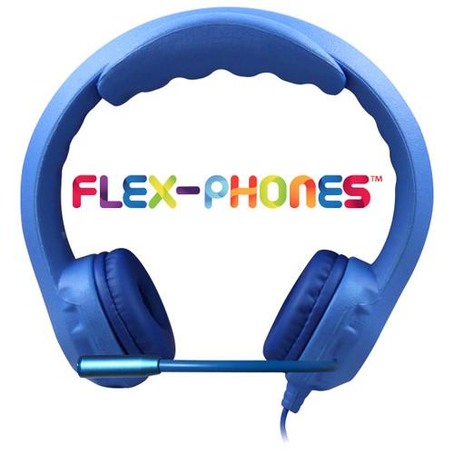 blue flex-phone with mic