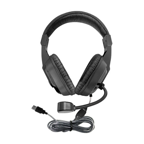 "WorkSmart ""Plus"" Deluxe USB Headset with Boom Gooseneck Microphone, Padded Headband and Leatherette Ear Cushions"