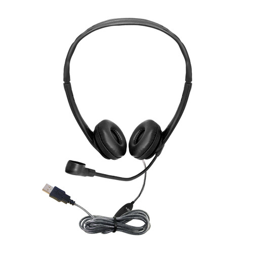 WorkSmart™ Personal-Sized USB Headset with Steel-Reinforced Gooseneck Microphone, Leatherette Ear Cushions
