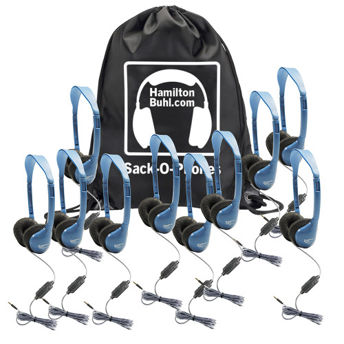 HamiltonBuhl Sack-O-Phones – 10 MS2-AMV Personal-Sized Headsets in a Carry Bag