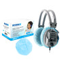 "Hygenx™ Sanitary, Disposable Ear Cushion Covers for 4.5"" Deluxe-Sized Headphones and Headsets, 50 Pair – BLUE"