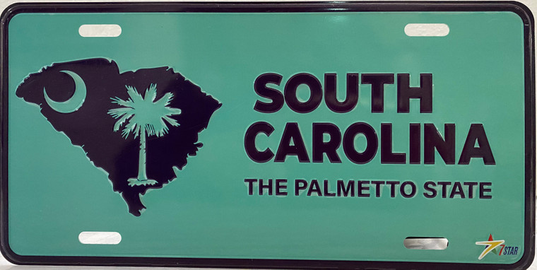 """License Plate 'South Carolina The Palmetto State' 6"""" x 12"""" High Quality Emboss Metal Plate"""