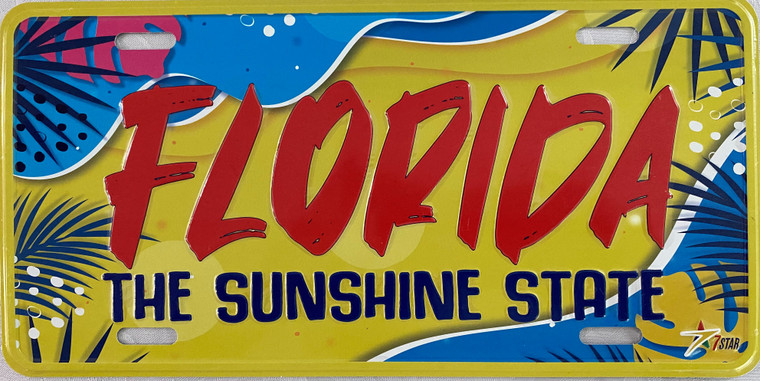 """License Plate 'Florida The Sunshine State' 6"""" x 12"""" High Quality Emboss Metal Plate"""