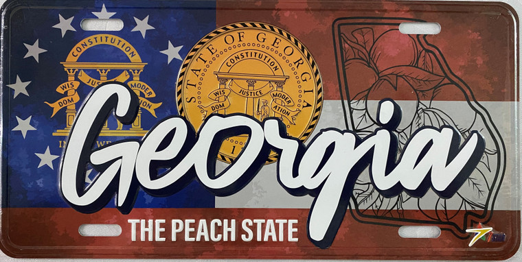 """License Plate 'Georgia The Peach State' 6"""" x 12"""" High Quality Emboss Metal Plate"""