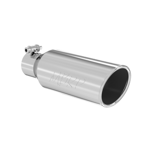 """MBRP Tip, 4"""" OD, 2.5"""" inlet, 12"""" in length, Angled cut Rolled End, Clampless-no weld T304"""