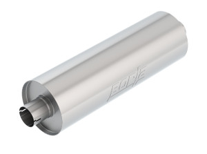 "Borla Heavy Duty (Truck) - 2.75"" Center-Center 24""x 7.75"" Round (Notched) - Specialty Muffler. Universal part. Reversible design for installation flexibility. Notched necks for clamp-on installation."