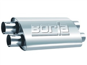 "Borla ProXS Muffler™ 2.5"" Dual/2.5"" Dual 19""x4""x9.5"". Internal ""X-Pipe"". Universal Part. Reversible Design For Installation Flexibility. Notched necks for clamp-on installation."
