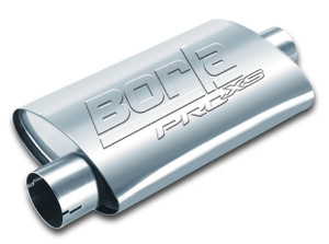 "Borla ProXS Muffler™ 2.5"" Offset/Center 14""x4.25""x7.88"" Universal part. Reversible design for installation flexibility. Notched necks for clamp-on installtion."