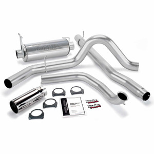 """Banks 4"""" Monster Exhaust Early 1999 Ford 7.3L - Chrome Tip (w/ Cat)"""