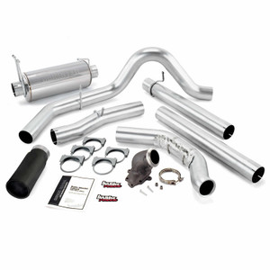 """Banks 4"""" Monster Exhaust Early 1999 Ford 7.3L w/Power Elbow - Black Tip (w/Cat)"""