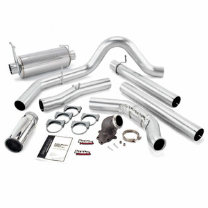 """Banks 4"""" Monster Exhaust  2001-03 Ford 7.3L w/Power Elbow - Chrome Tip (Manual w/Cat)"""