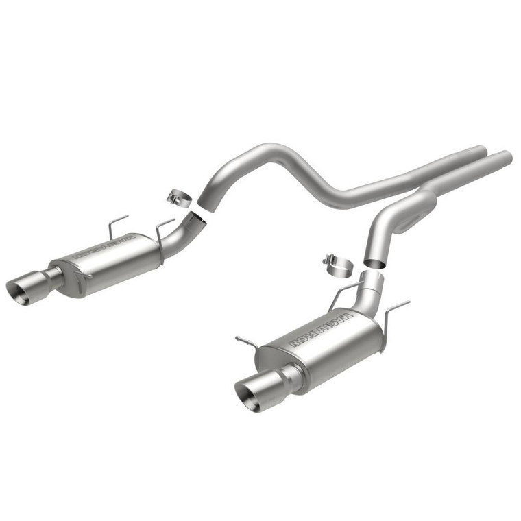 Magnaflow Street Series Stainless Steel Cat-Back System 5x8x14 in. Mufflers 3 in. Tubing /Exhaust Systems/Dual Exhaust Kit Split Rear Exit 4 in. Pol. Stainless Tips Mandrel-Bend